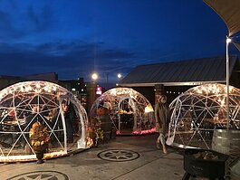 Three Rivers Distilling Co. is investing in its outdoor dining experience with igloo seating during COVID-19.
