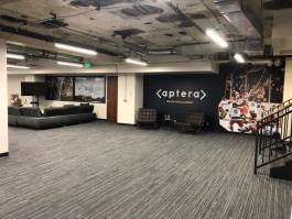 A basement lounge in the new Aptera headquarters.