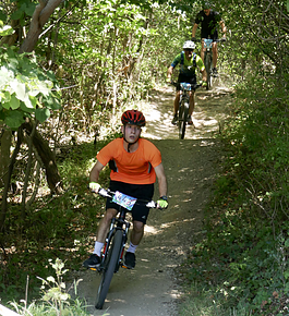 David Schramm and other Grace students enjoy the mountain bike trails near campus.