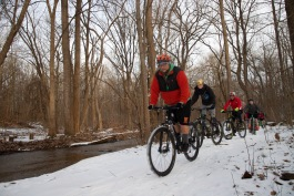 "David ""Cookie"" Cook leads the Warsaw ""Chain Breakers"" on a winter ride."