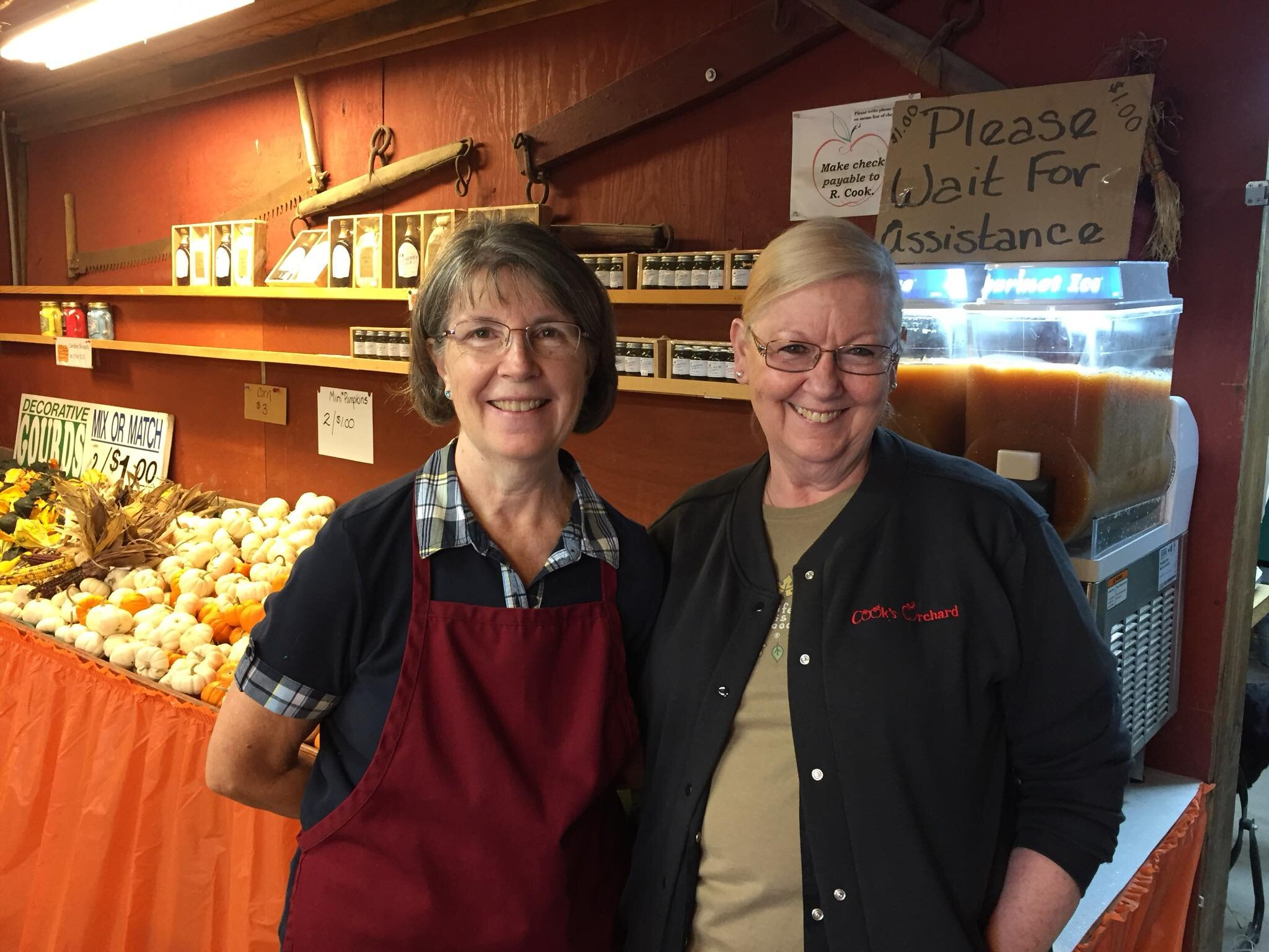 Cook's Orchard shop is fully stocked with fall goodies, including apple cider slushies.