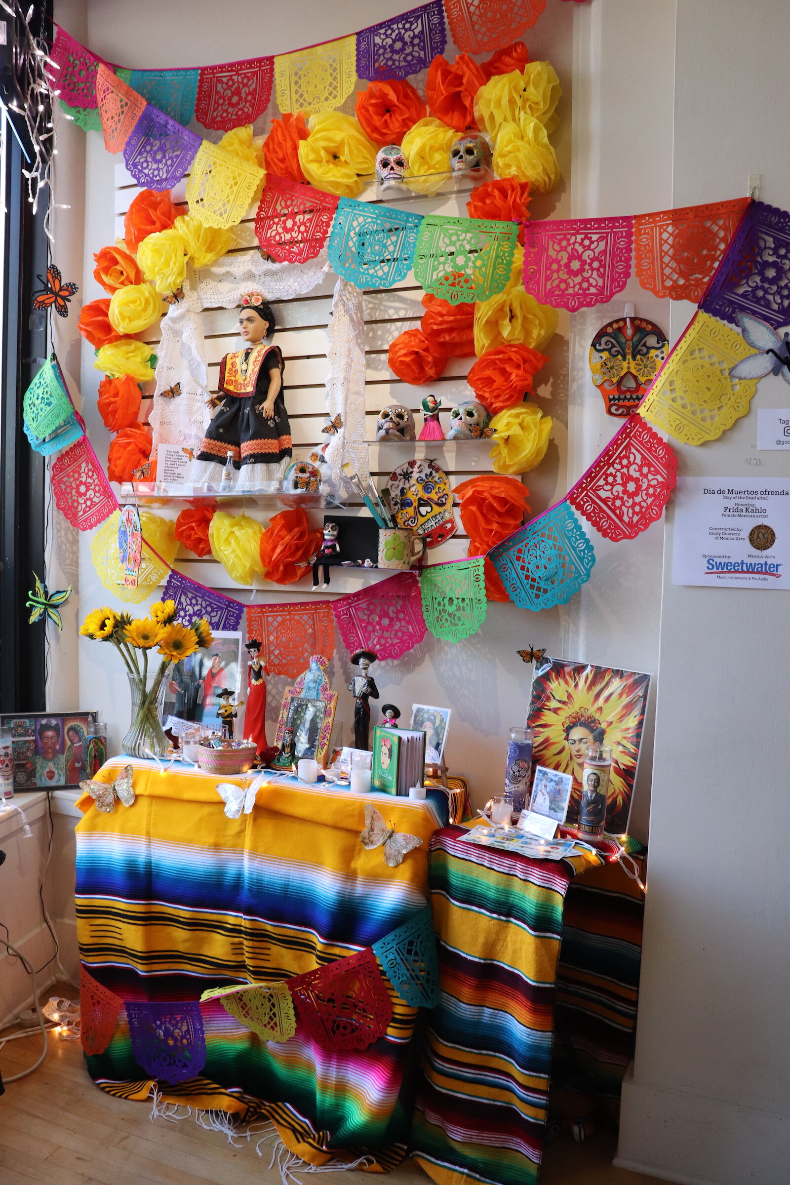 An ofrenda inside Creative Women of the World in downtown Fort Wayne, honoring Mexican painter Frida Kahlo..