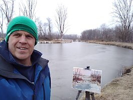David Broerman member of Fort Wayne Artists Guild plein air paints.