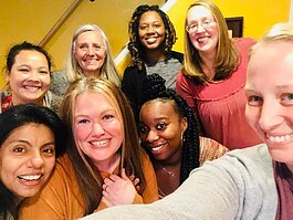 Doulas with Journey Birth and Wellness, serving immigrant and refugee populations in Fort Wayne. From left, row 2, are Lahmay Moo, Sue Heckley, Jaquanda Capers, Lucy Ortiz, Nina Bogle, Ja'Nisha Beal, and Shanna Bradley.