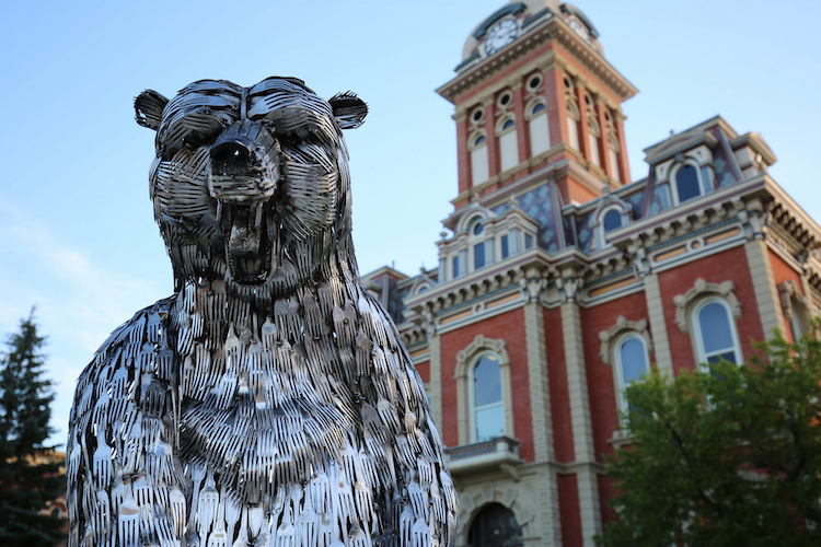 "Known for its annual Sculpture Tour, Decatur is boosting its creative appeal in more ways. This sculpture is ""Bear, Lee Standing,"" by Gary Hovey."