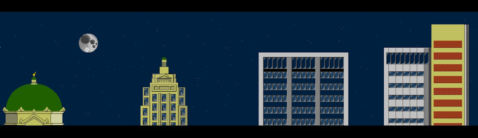 A video game version of the downtown Fort Wayne skyline by i heart pizza LLC.