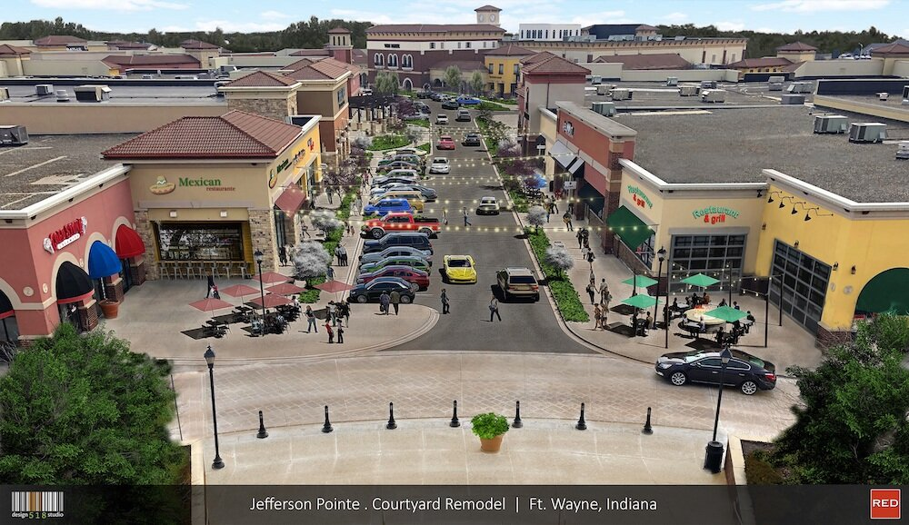 A rendering of a proposed roadway through Jefferson Pointe to improve parking and convenience for customers.