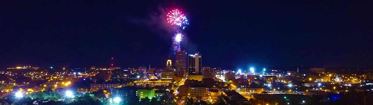 Fireworks begin at 10 p.m. on July 4 at the Indiana Michigan Power Center in downtown Fort Wayne. <span class='image-credits'>By Stephen J. Bailey</span>