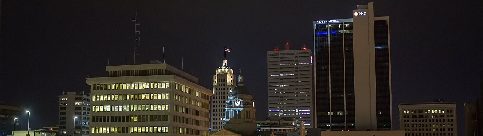 The downtown Fort Wayne skyline at night.