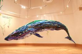 "The centerpiece of ""Mother Sea – Haha naru umi"" is a massive 16-foot-long whale that was largely constructed in Fort Wayne at Tekventure."
