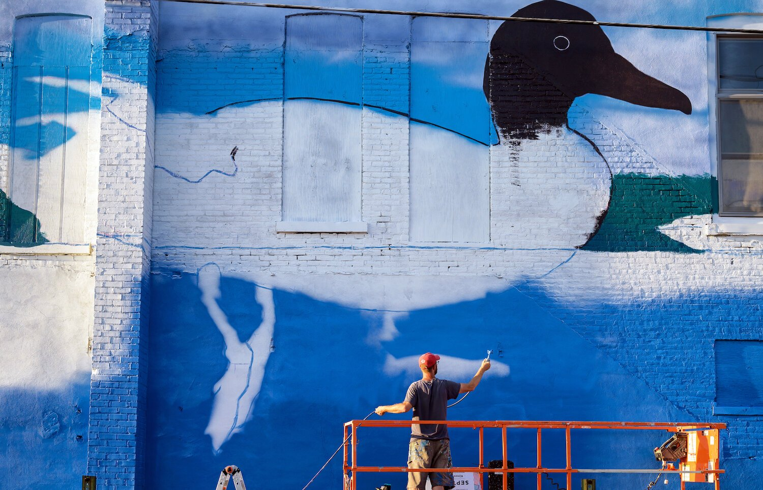 Parsley's mural features lake life and wildlife native to the Warsaw area.
