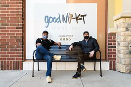 Joshua Raines of STAR 88.3, left, and Harry Cunningham of Vera Bradley, right, are on the leadership team behind goodMRKT.