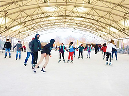 Headwaters Park Ice Rink is located at 333 South Clinton Street.