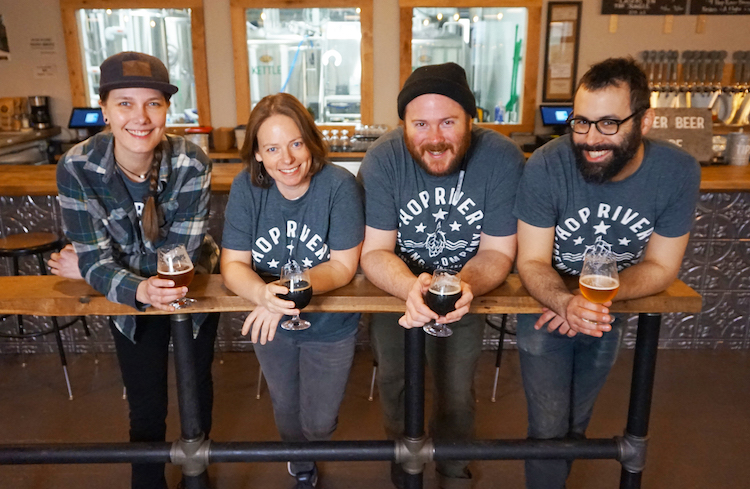 Amanda Wendt, Mary Corinne Lowenstein-DeGood, Zach Croy, and Kevin Debs of Hop River Brewing Company.