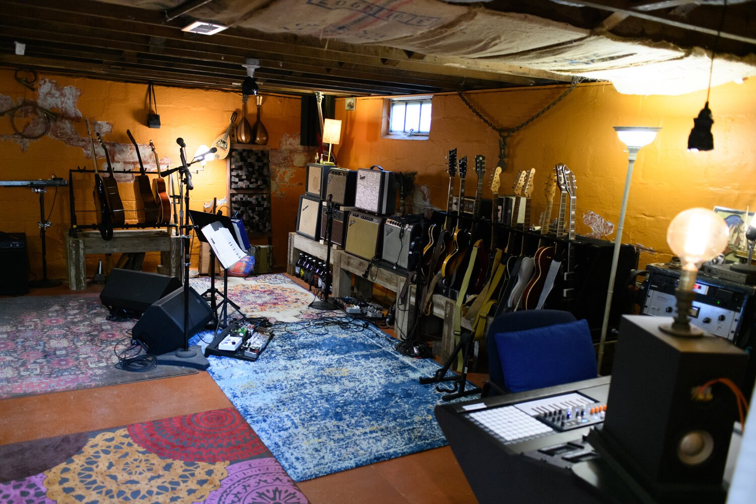 The downstairs recording studio at the Porter family home.
