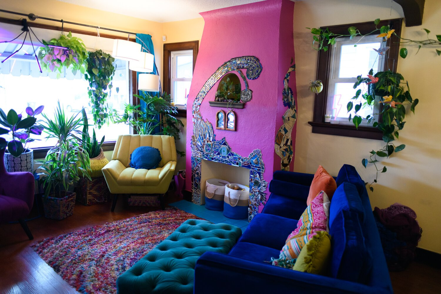 The living room features a lot of color and plants.