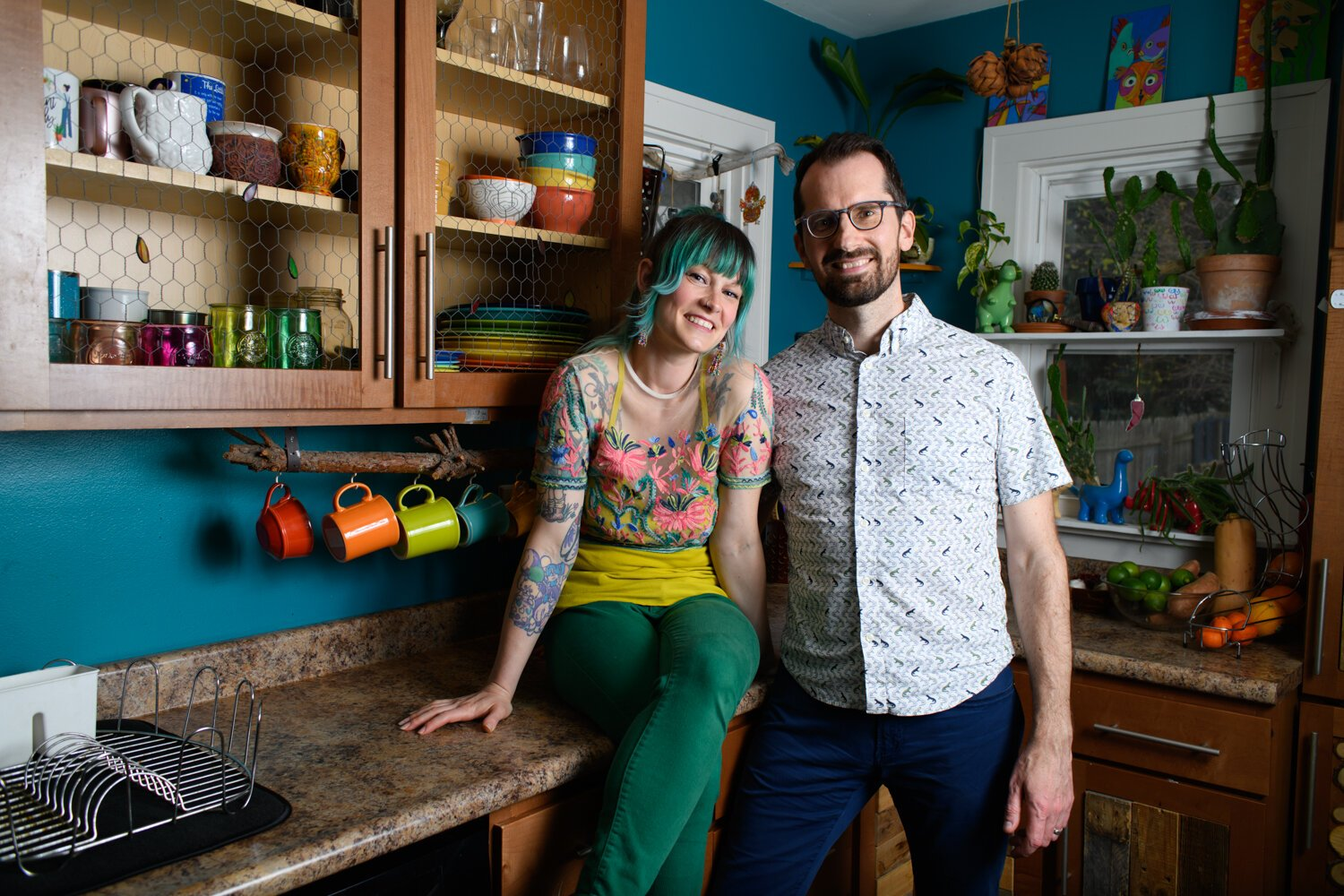 Lyndsy Rae Porter, left, and Ben Porter, in their kitchen.