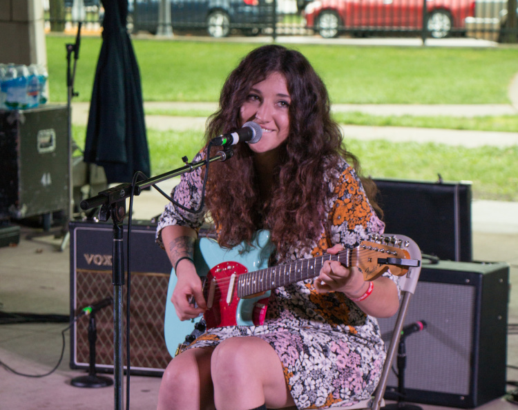 Jess Thrower entertains concert-goers at Middle Waves Music Festival.