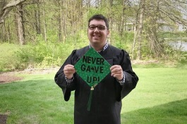 Jonathon Mossburg is the first graduate of the Ivy Tech Achieve Your Degree program.