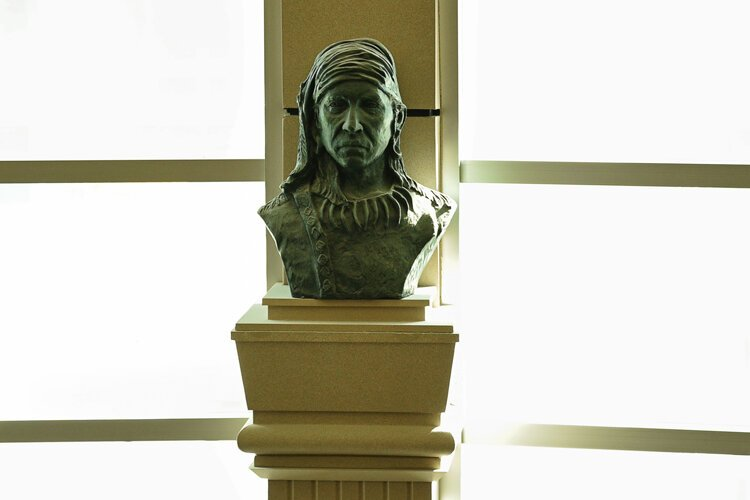 A bust of Cheif Little Turtle by Sufi Ahmad in the Flagstaff Bank Building at Wayne St. and Calhoun St.