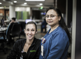Courtney Goeglein, left, a RN, poses with Mahmuda Arman, right, a Post-Acute Admission Liaison Nurse.