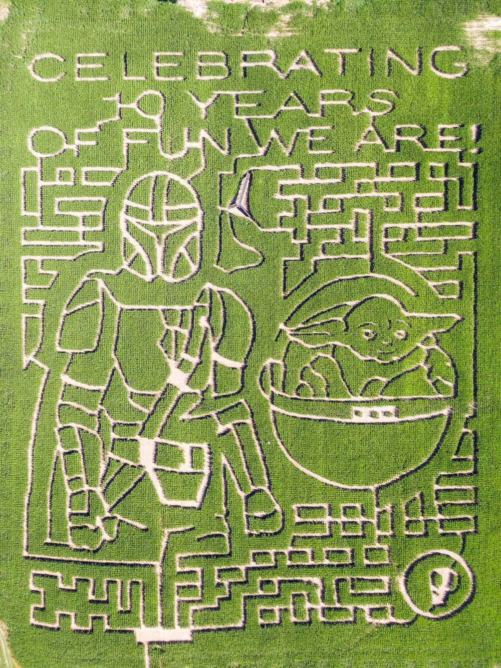 A Mandalorian themed corn maze at Amazing Fall Fun in Waterloo.