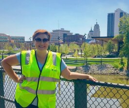 Megan Butler stands in front of Promenade Park.