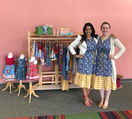 Jennifer Bermejo, right, works for Matilda Jane Clothing.