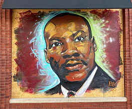 A mural of Martin Luther King Jr. by artist Jeff Pilkinton.