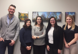 Five members of the Fort Wayne Shaw Center team, from left to right, Chase Fortier, Lily Harig, Katie Bergman, Megan Hanes, and Stacey Malinowski.