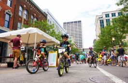 Bicycle Friendly Fort Wayne and FWPD Bike Patrol taught bike handling skills at Open Streets.