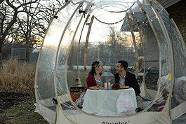"A ""Popnic for Two"" includes an hour in a heated tent with a decorated table, table setting essentials for a picnic, and a Bluetooth speaker for guest to play their choice of music through."