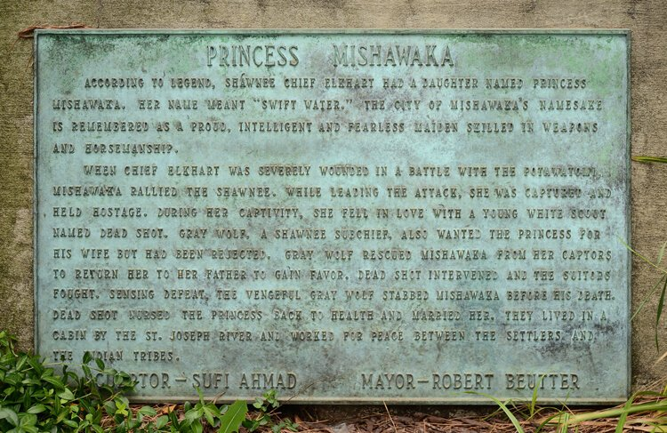 The details of Princess Mishawaka's story beneath her statue at Mishawaka City Hall.
