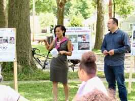 Réna Bradley, center, is a community leader and director of the Tired-a-Lot project in Fort Wayne's Mount Vernon Park neighborhood.
