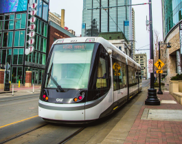 The KC Streetcar drops off riders at the doorstep of downtown businesses.