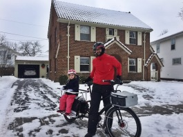 Although Serrani owns a car, he prefers to bike for transportation, even in the snow.