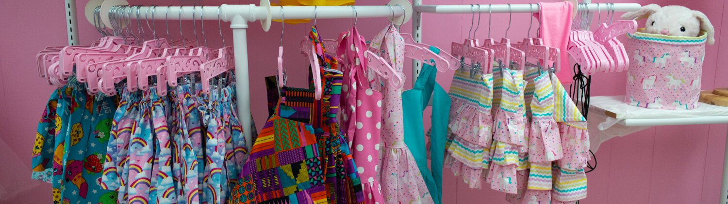 Colorful clothes for girls and women at Sew Pinky, a new shop on South Calhoun Street.