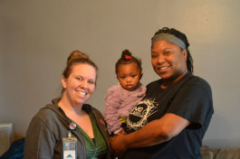 Healthier Moms and Babies Case Manager Ashley Nichter with Sa'nia Winder and Shannon Winder.