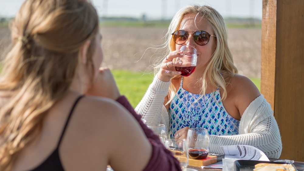 Guests enjoy wine and cheese outdoors at Tippy Creek Winery in Leesburg.