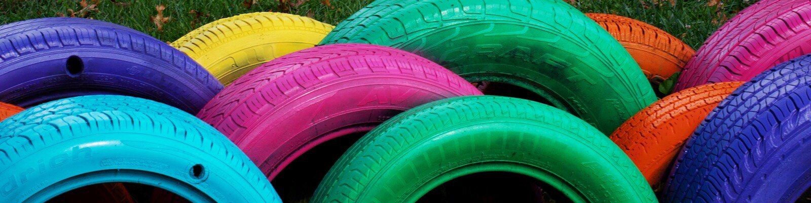 Colorful, recycled tires create a playground in the Mount Vernon Park neighborhood.