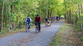 The City of Fort Wayne, New Haven, and Fort Wayne Trails host weekly family-friendly bike rides on Tuesday nights called Trek the Trails.