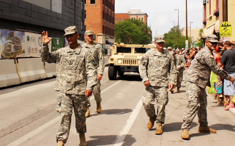 Military members greet civilians at the Three Rivers Festival in 2017.