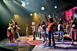 "Three Rivers Music Theatre performs the musical ""Hair"" in July 2016 about peace, love, and revolution."